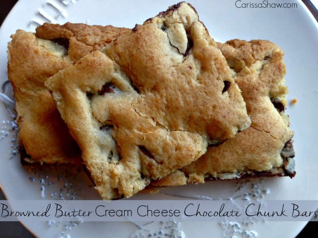 Browned Butter Cream Cheese Chocolate Chunk Bars