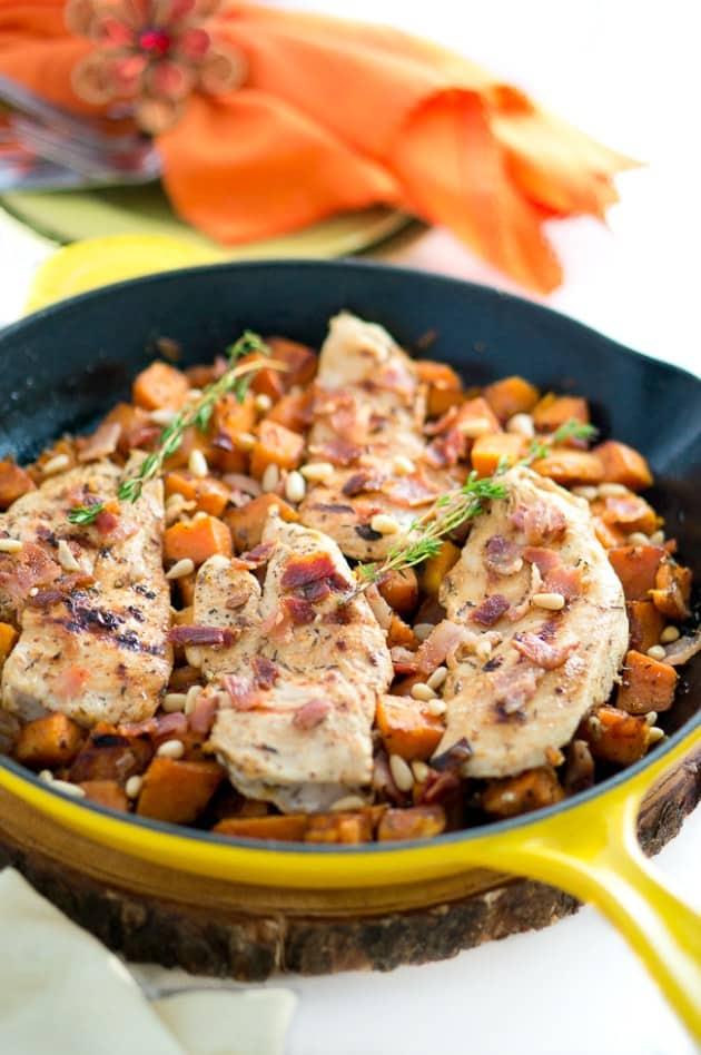 maple-mustard-chicken-and-sweet-potato-skillet