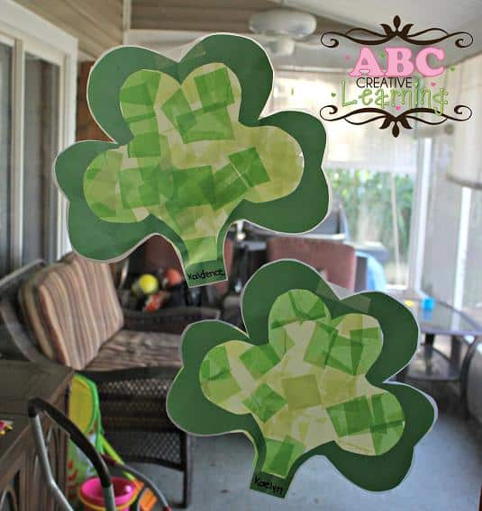Kid-Craft-Shamrock-Suncatchers