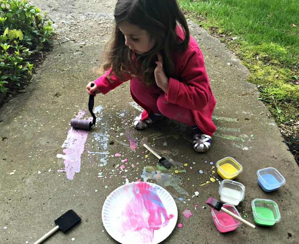 using a rolling brush to paint with chalk paint