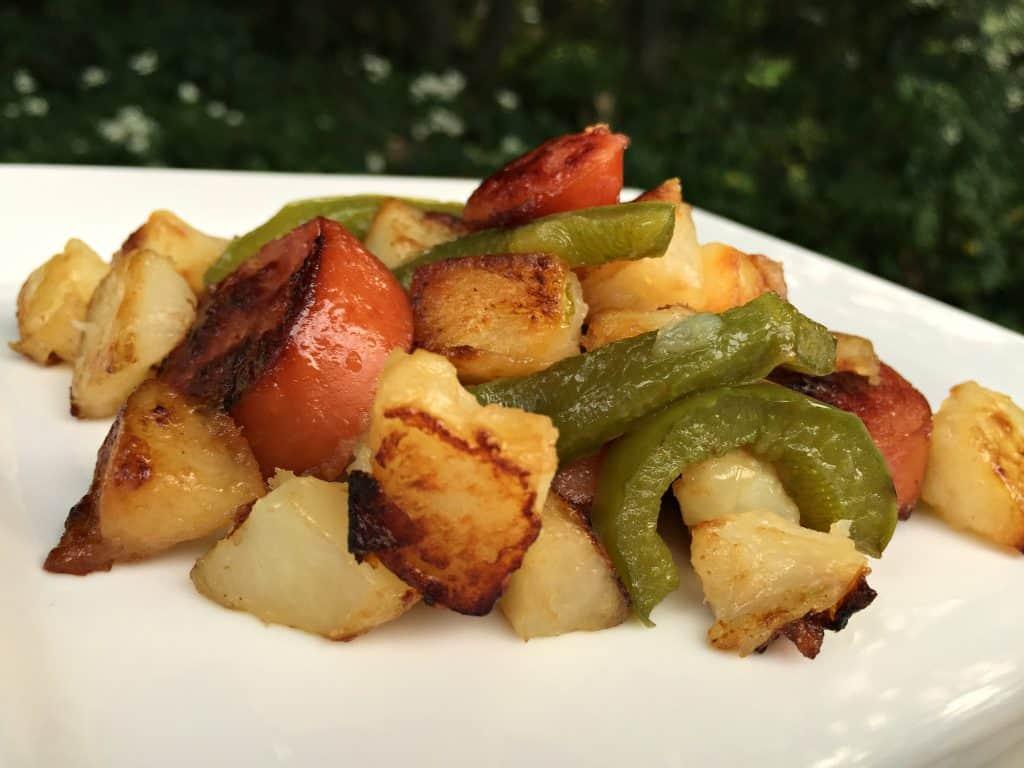 Kielbasas and Potato Skillet - Cheap and Delicious Meal!