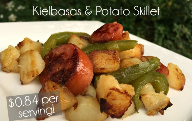 Kielbasas and Potato Skillet - Cheap and Delicious Meal!