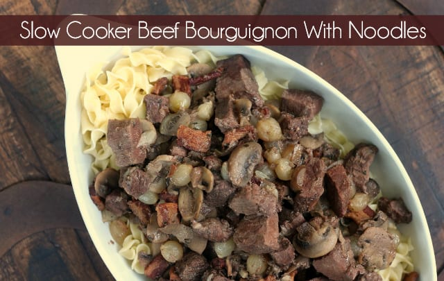 Slow Cooker Beef Bourguignon With Noodles | Boeuf Bourguignon | Easy Beef Bourguignon | Overnight Recipe | #BeefBourguignon #BoeufBourguignon #Dinner #ClassicRecipe #VintageRecipe