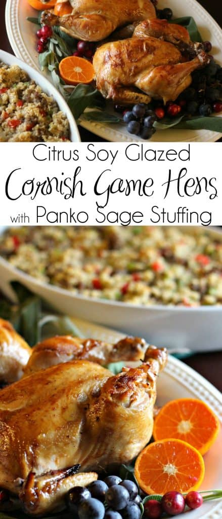 If you're looking for something special to serve this holiday season, you'll love this Citrus Soy Glazed Cornish Game Hens with Panko Sage Stuffing! #Thanksgiving #Christmas #Turkey #TurkeyRecipe #CornishGameHens #Panko #Stuffing #SageStuffing