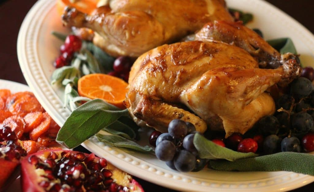 Citrus Soy Glazed Cornish Game Hens with Panko Sage Stuffing