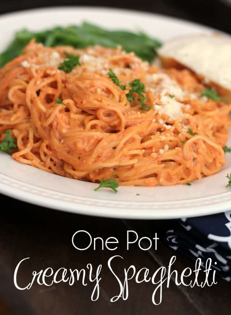 One Pot Creamy Spaghetti - A whole meal for $1.47 per person! #30MinuteMeal #WorkingMom #DinnerRecipe #SpaghettiRecipe #CreamySpaghetti #OnePotSpaghetti #Pasta | 30 Minute Meals | Quick Dinner | Cheap Recipe | Thrifty Meals | What to Cook When You Are Broke
