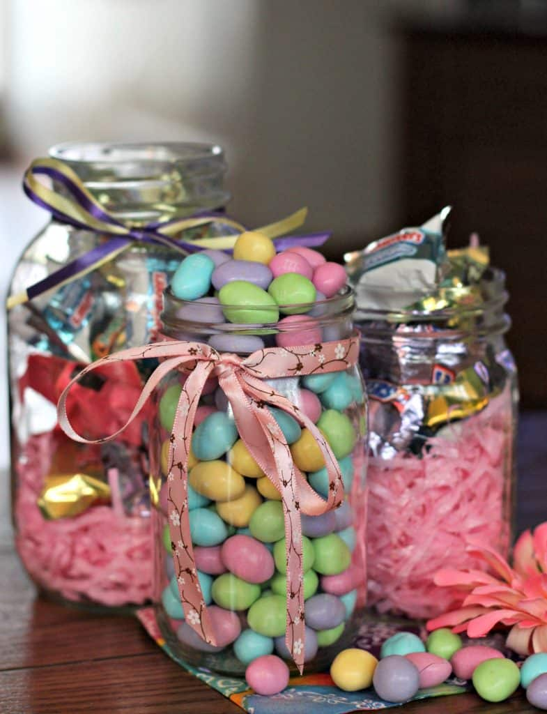 99 Easter Basket Ideas for Kids Plus Free Printable - M&M'S in mason jars