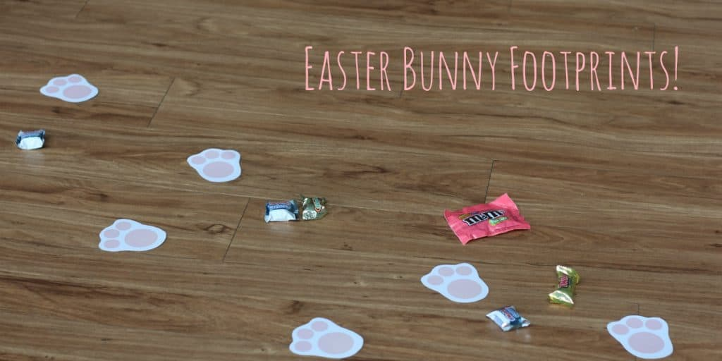 99 Easter Basket Ideas for Kids Plus Free Printable - Easter Bunny footprints