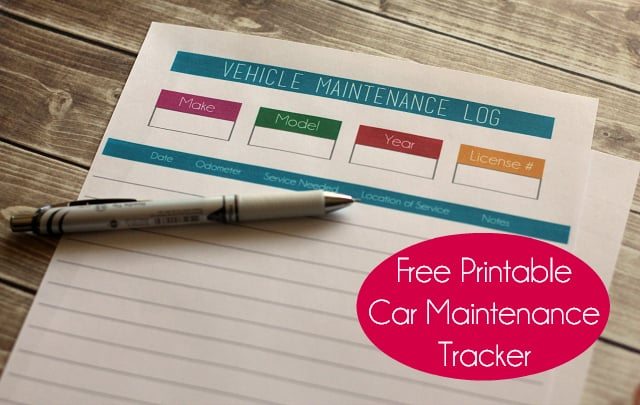 Free Printable Car Maintenance Tracker