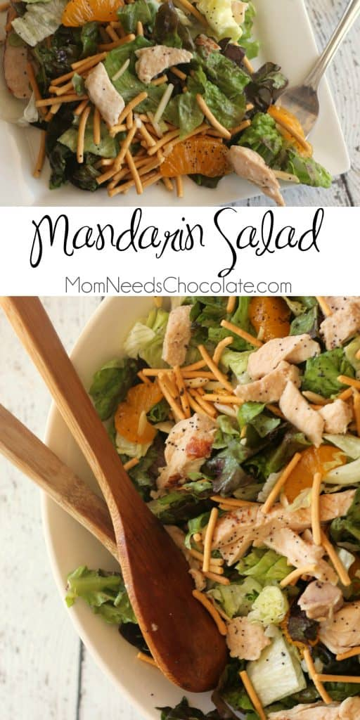 Mandarin Orange Salad is perfect as a side, lunch, dinner, or for a potluck. You'll love the combination of mildly sweet homemade poppy seed dressing, cool and juicy mandarin oranges, crunchy fresh lettuce, and more! This salad has all the flavor and is just a breeze to toss together. | #Salad #Dinner #Chicken #MandarinOrangeSalad #MomNeedsChocolate #SaladRecipe