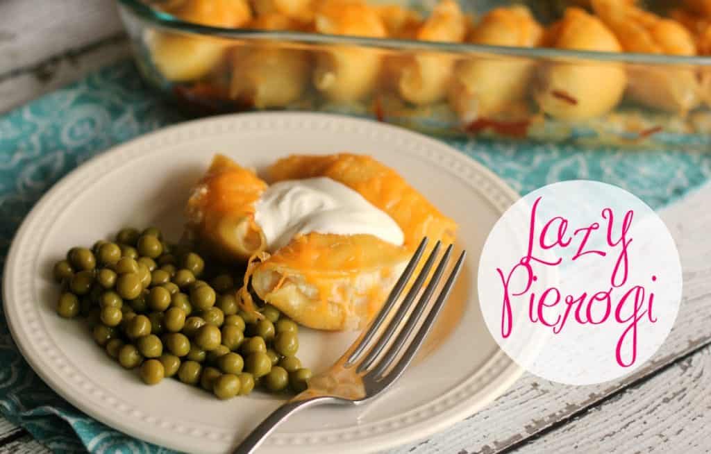 Lazy Pierogi on a plate with green peas and sour cream