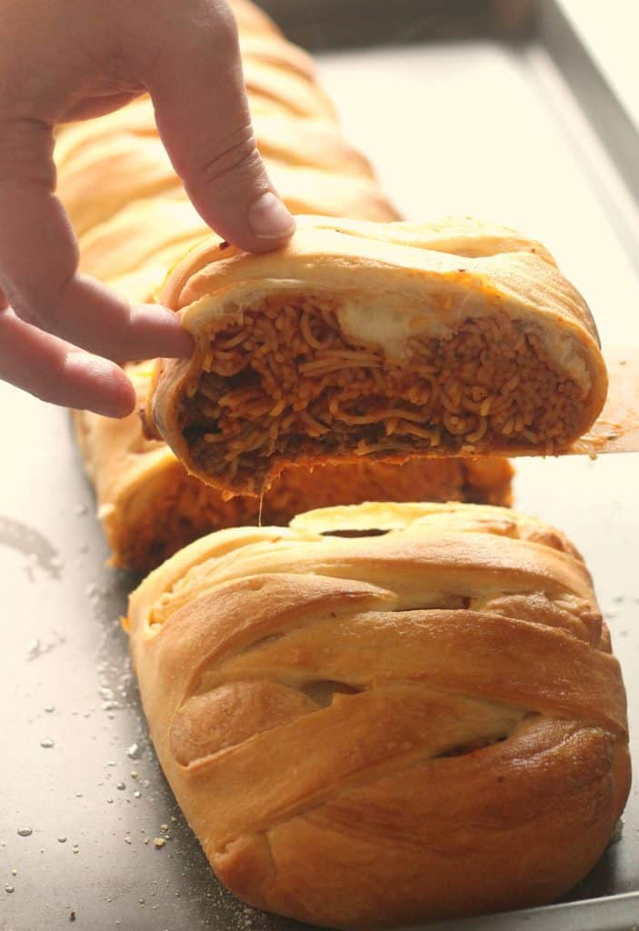 Spaghetti Stuffed Garlic Bread sliced