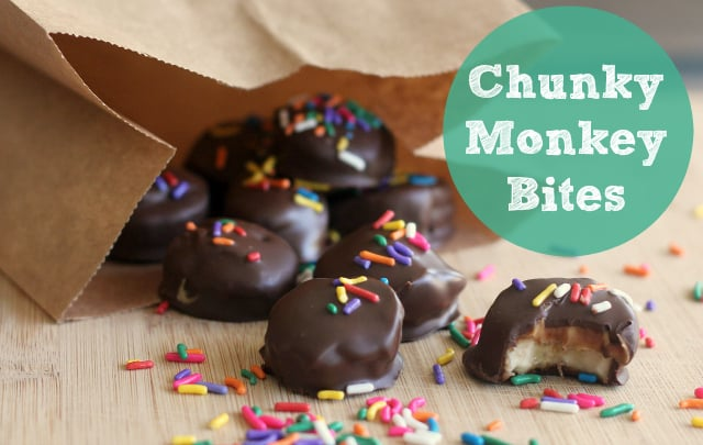 Chunky Monkey Peanut Butter Banana Bites in a paper bag