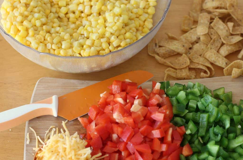 Prepping ingredients for Frito Salad Recipe