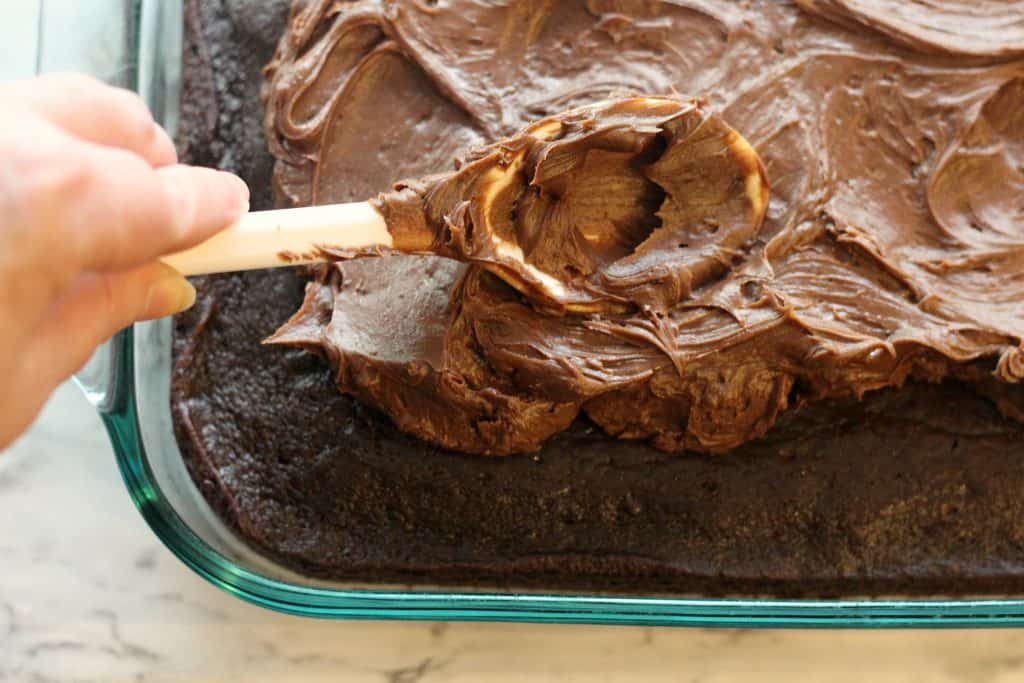 Frosting the Sour Cream Chocolate Cake
