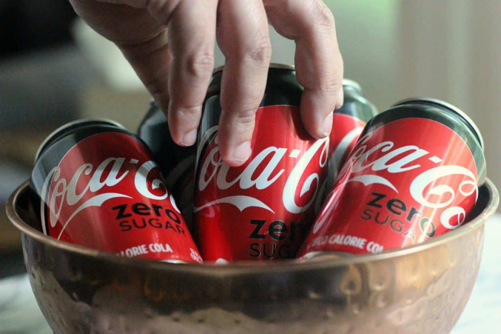 Cans of Coke Zero in ice, perfect with Homemade Fried Zucchini