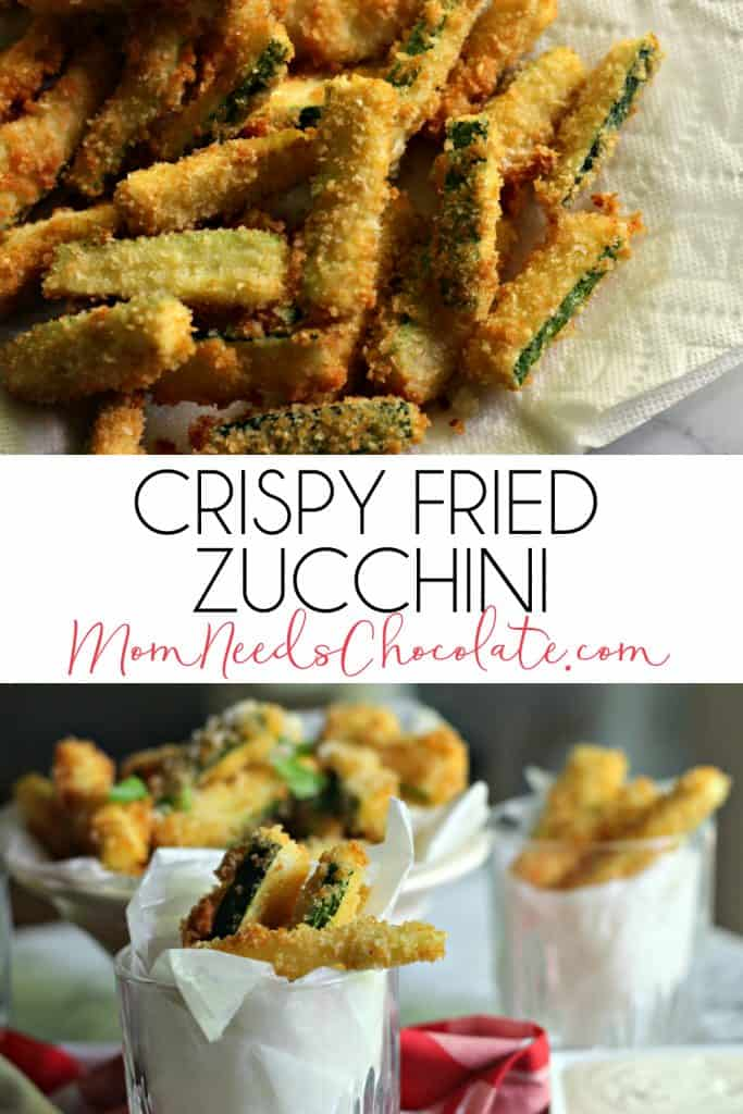 Homemade Fried Zucchini | Delicious and crispy fried zucchini is so easy to make at home! Dip them in ranch dressing or warm marinara sauce for a perfect crunchy, salty snack. | #Zucchini #Snack #GameDay #Football #Party #PartyFood #FriedZucchini #MomNeedsChocolate