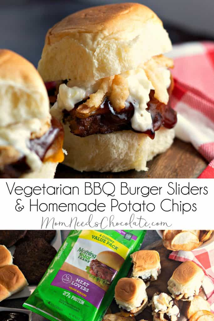 Vegetarian BBQ Burger Sliders and Homemade Potato Chips | What better way to enjoy a Meatless Monday than with delicious Vegetarian BBQ Burger Sliders and Homemade Potato Chips?! #MeatlessMonday #ad #MorningStarFarms #MakeRoomOnYourGrill #CollectiveBias @walmart #VeggieBurger #Vegetarian #Burgers #Sliders #BBQ