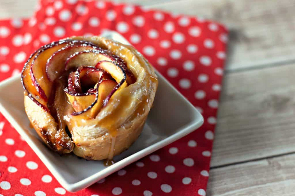 Caramel Apple Rose Tarts on a white and red napkin