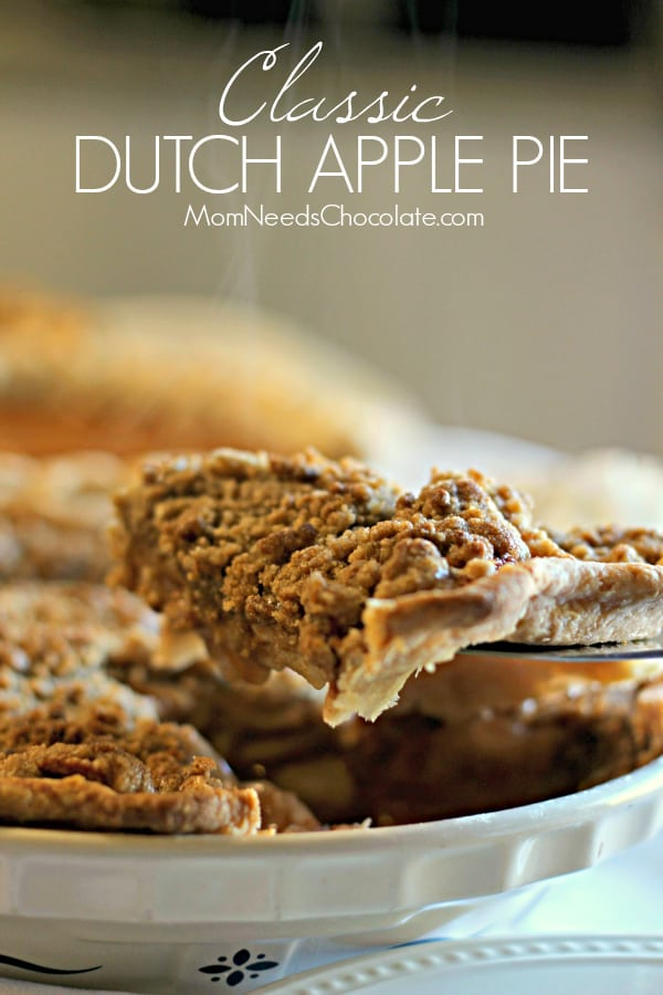 Classic Dutch Apple Pie like grandma made! Few things are as comforting as the smell of hot apple pie fresh from the oven. Make thisClassic Dutch Apple Pie and enjoy the flavors of sweet and tart apples with cinnamon and sugar in a flaky crust and topped with sweet crumbs. | #MomNeedsChocolate #ApplePie #Apples #ApplePicking #DutchApplePie #Pie #Thanksgiving #AppleCrumbPie #HomemadePie #PieCrust