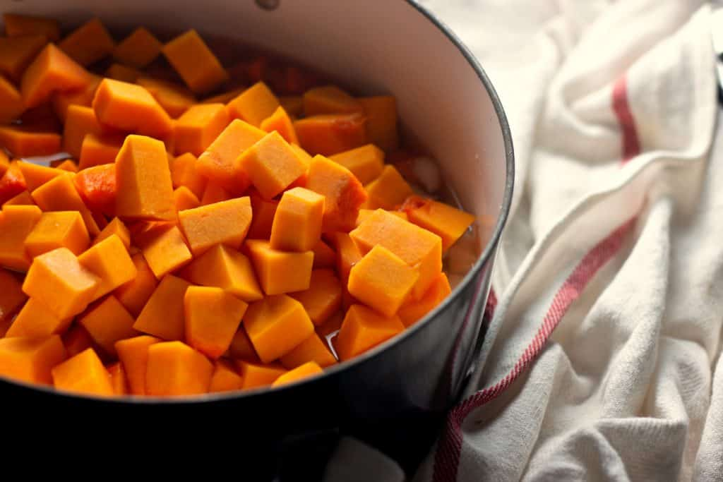 Beautiful golden butternut squash ready to be cooked down into Savory Butternut Squash Soup