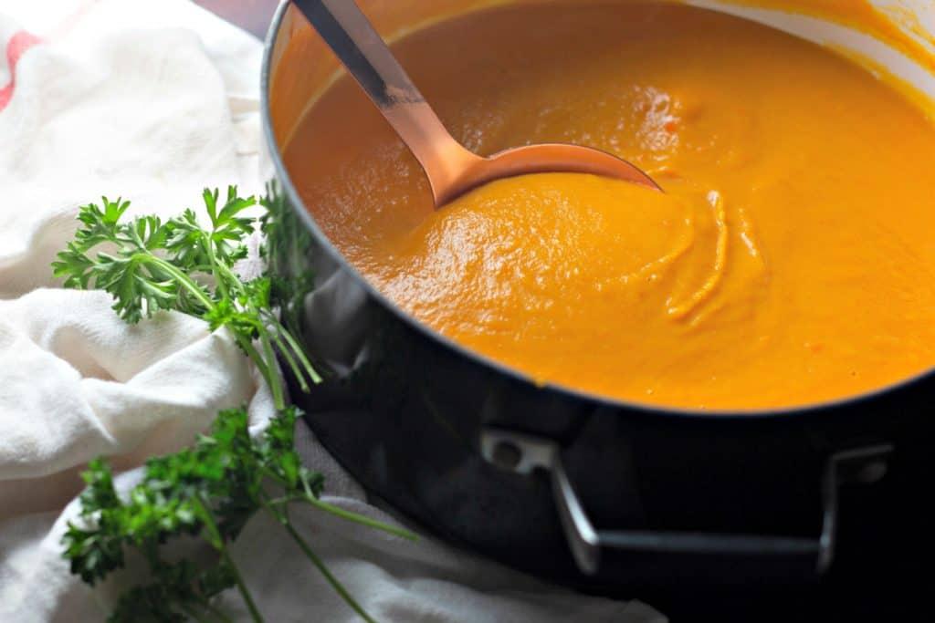 Finished Savory Butternut Squash Soup ready to serve