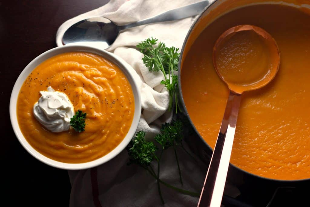 Savory Butternut Squash Soup with a dollop of sour cream