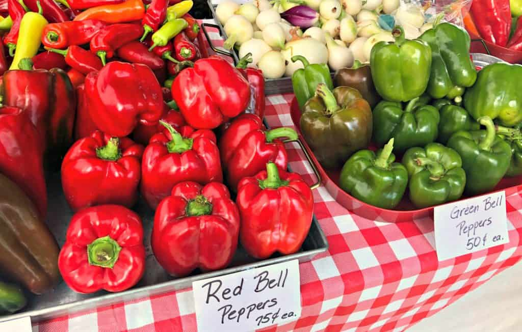 Fresh bell peppers at the farmers market