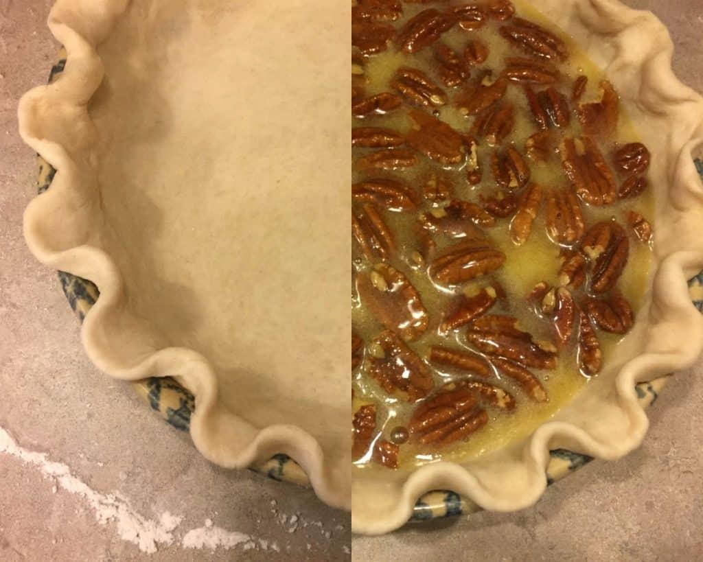 Filling a pie crust with pecan pie filling - Classic Pecan Pie Recipe