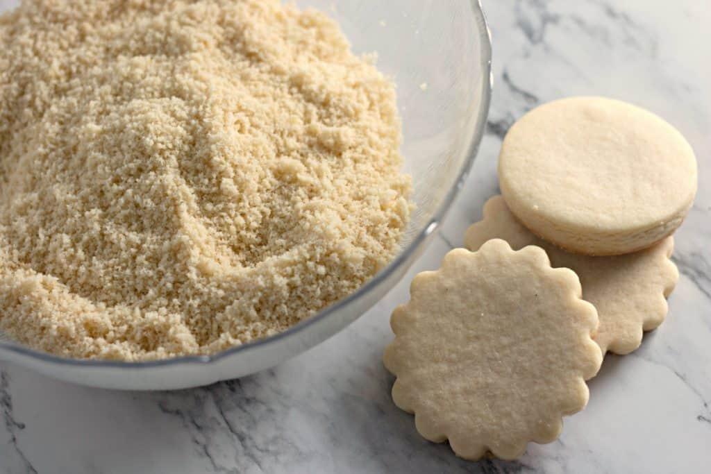 Homemade sugar cookie crumbs for making Christmas Sugar Cookie Truffles