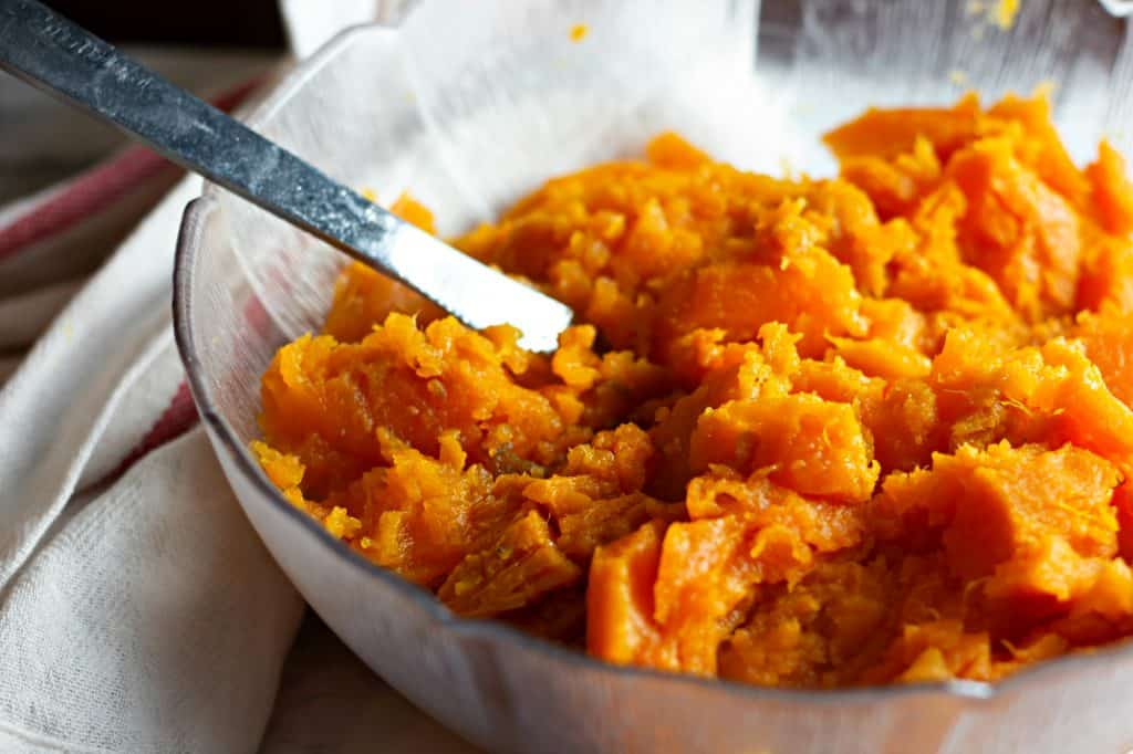 Peeled baked sweet potatoes ready to be made into Whipped Sweet Potatoes