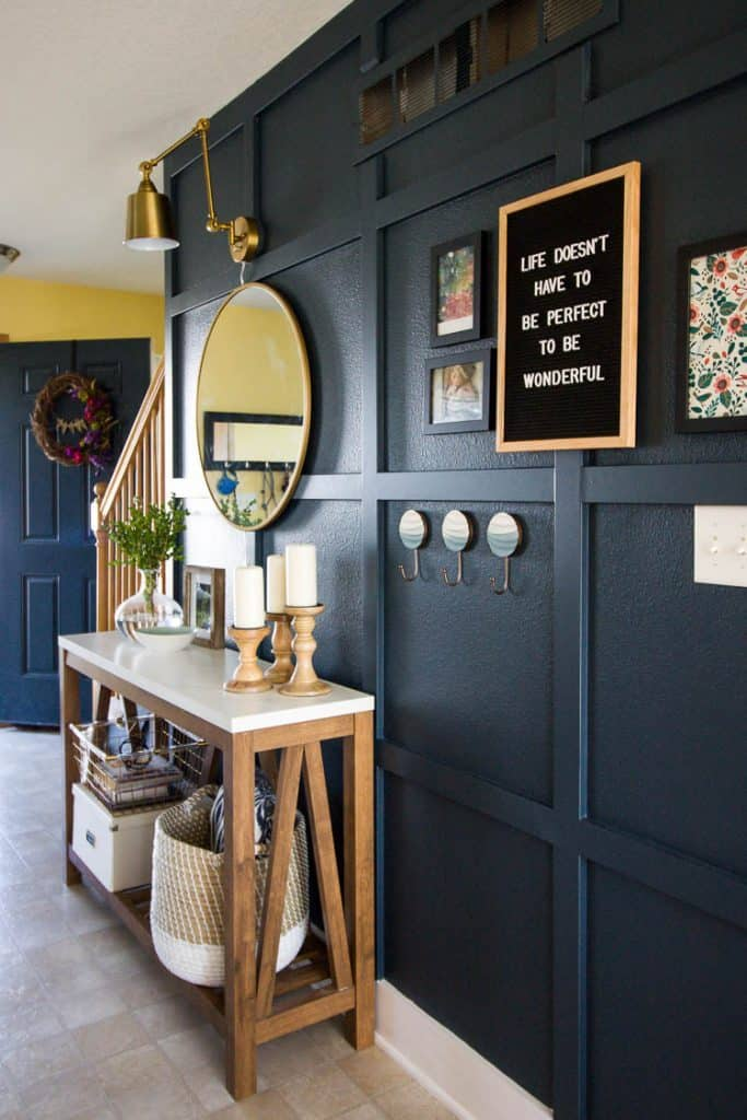 Check out this beautiful entry way redesign from Small Stuff Counts that includes a cute letter board!