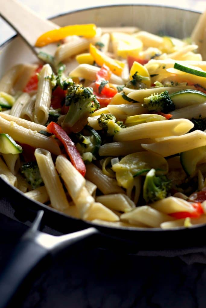 Freshly made Penne Primavera with Butter Sage Sauce