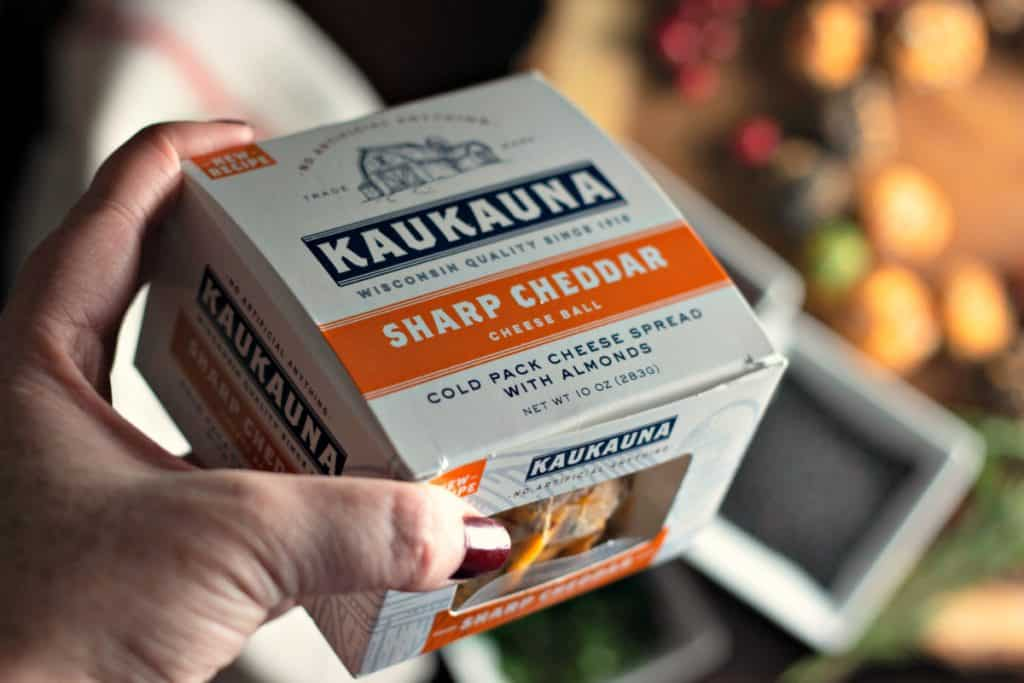 The new all natural Kaukauna Sharp Cheddar Cheese Ball for making Holiday Cheese Ball Wreath