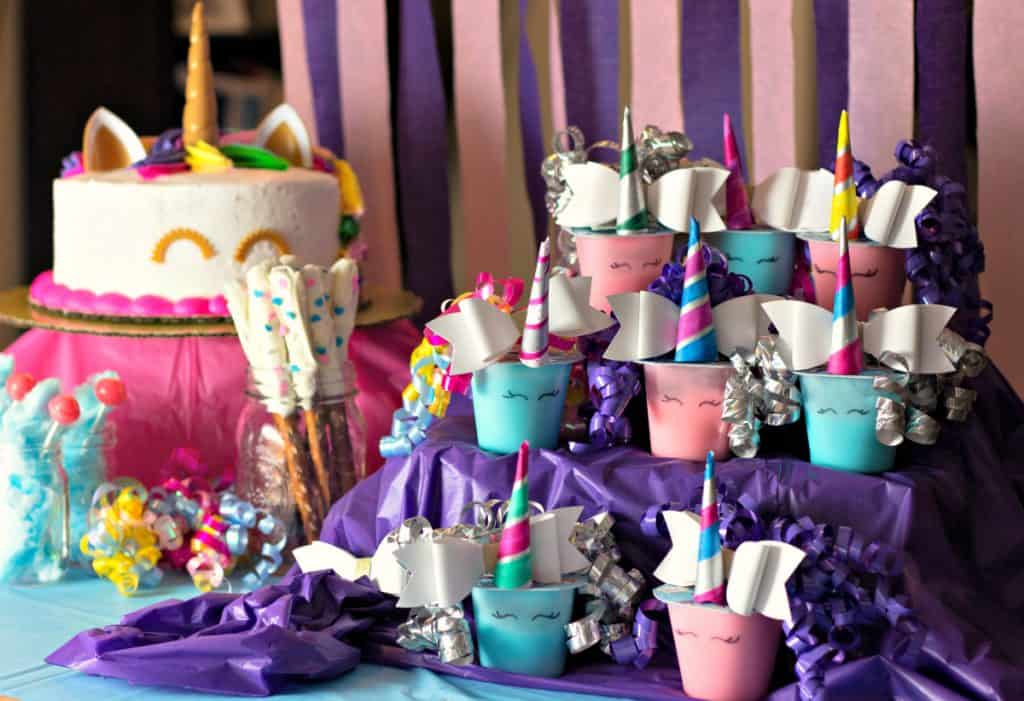 Unicorn Pudding Cups Craft for unicorn birthday party