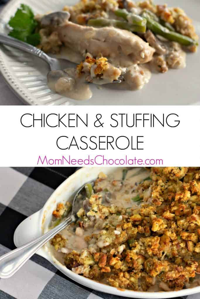 Chicken and Stuffing Casserole is a delicious dish of chicken in a creamy mushroom sauce with fresh green beans and topped with a classic all American favorite stuffing. For the busy cook on the go, put this casserole together the night before and it will keep in the refrigerator until it's time to bake it the next day. Your whole family will love this make ahead dinner time wonder! #makeaheaddinner #dinner #chicken #chickencasserole #stuffing #chickenandstuffing #weeknightdinner #familydinner