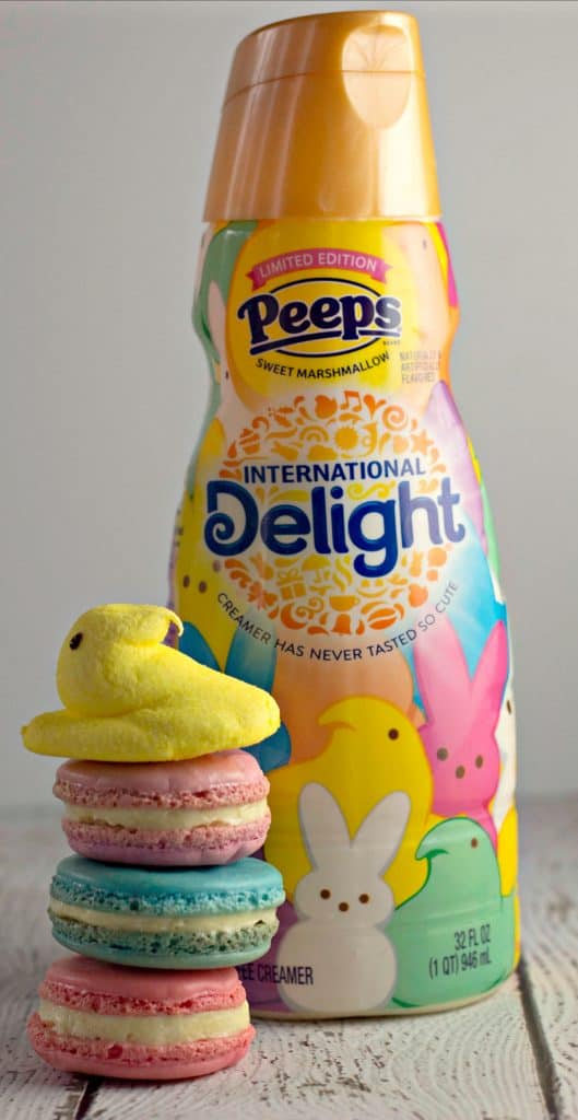 Marshmallow PEEPS® Macaron Cookies with International Delight Peeps Coffee Creamer
