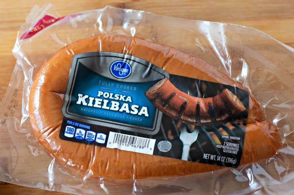 Kroger brand polska kielbasa for making Pierogi Skillet