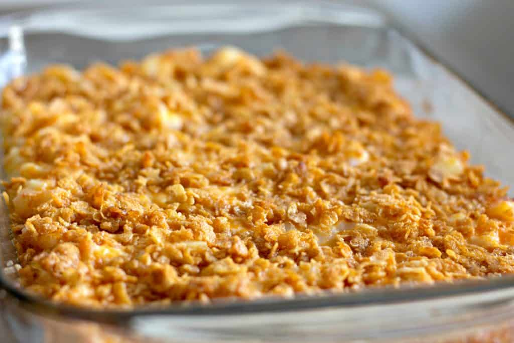 Funeral Potatoes - Cheesy Potato Casserole Topped with Corn Flakes