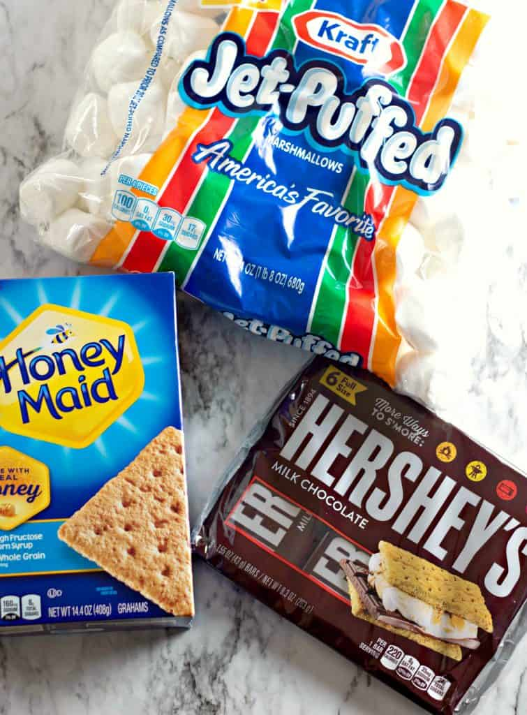 Marshmallows, graham crackers, and Hershey's bars for making Oven Baked S'mores