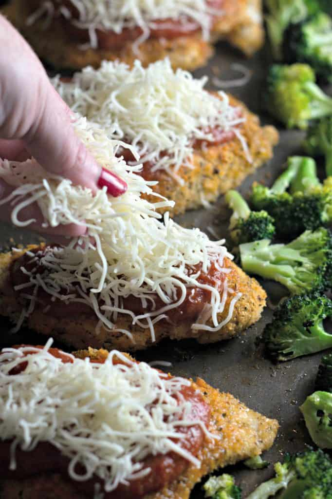 Easy Sheet Pan Chicken Parmesan with Broccoli