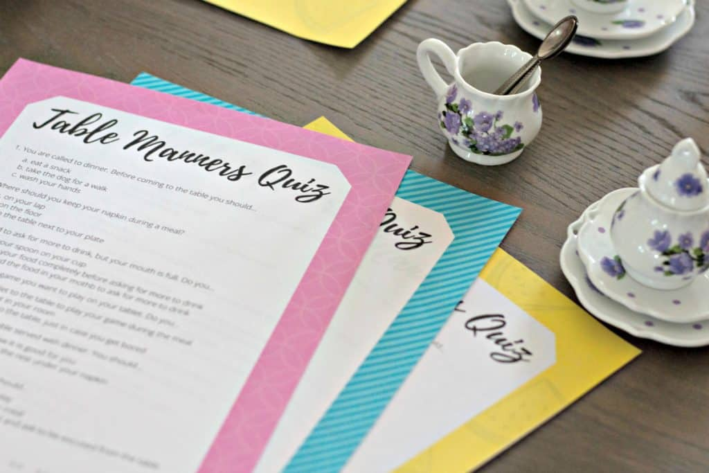 Free printable table manners quiz