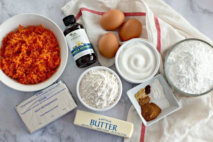 Ingredients to make Carrot Cake Roll with Cream Cheese Frosting