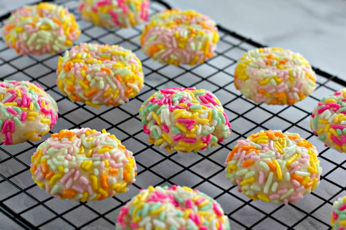 Cream Cheese Sprinkle Cookies on a cooling rack