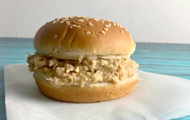 Crockpot Ohio Shredded Chicken Sandwiches on a white paper