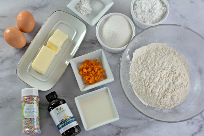 Ingredients to make Orange Zest Sprinkle Cookies