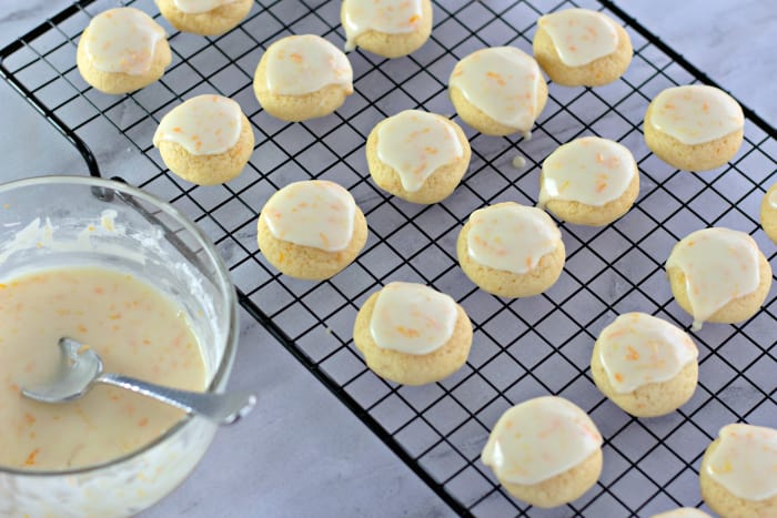 Orange Zest Sprinkle Cookies on a wire cooling rack