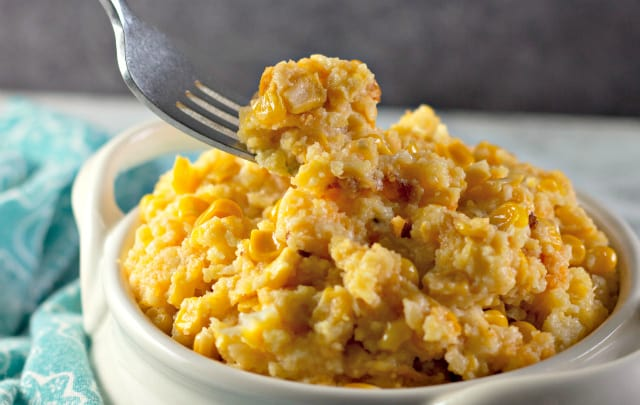 Fork full of The Best Slow Cooker Corn Casserole