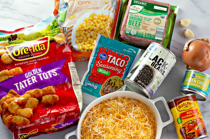 Ingredients to make Tater Tot Taco Casserole