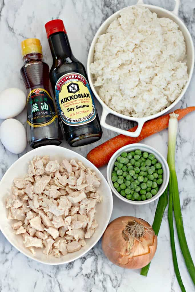Ingredients for making Homemade Chicken Fried Rice
